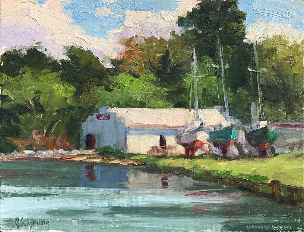 """Down By the Boathouse"" ©Jennifer E Young. Oil on linen, 8x10. Painted during Plein Air Unleased, 2019, with Allure Art Center (SOLD.)"