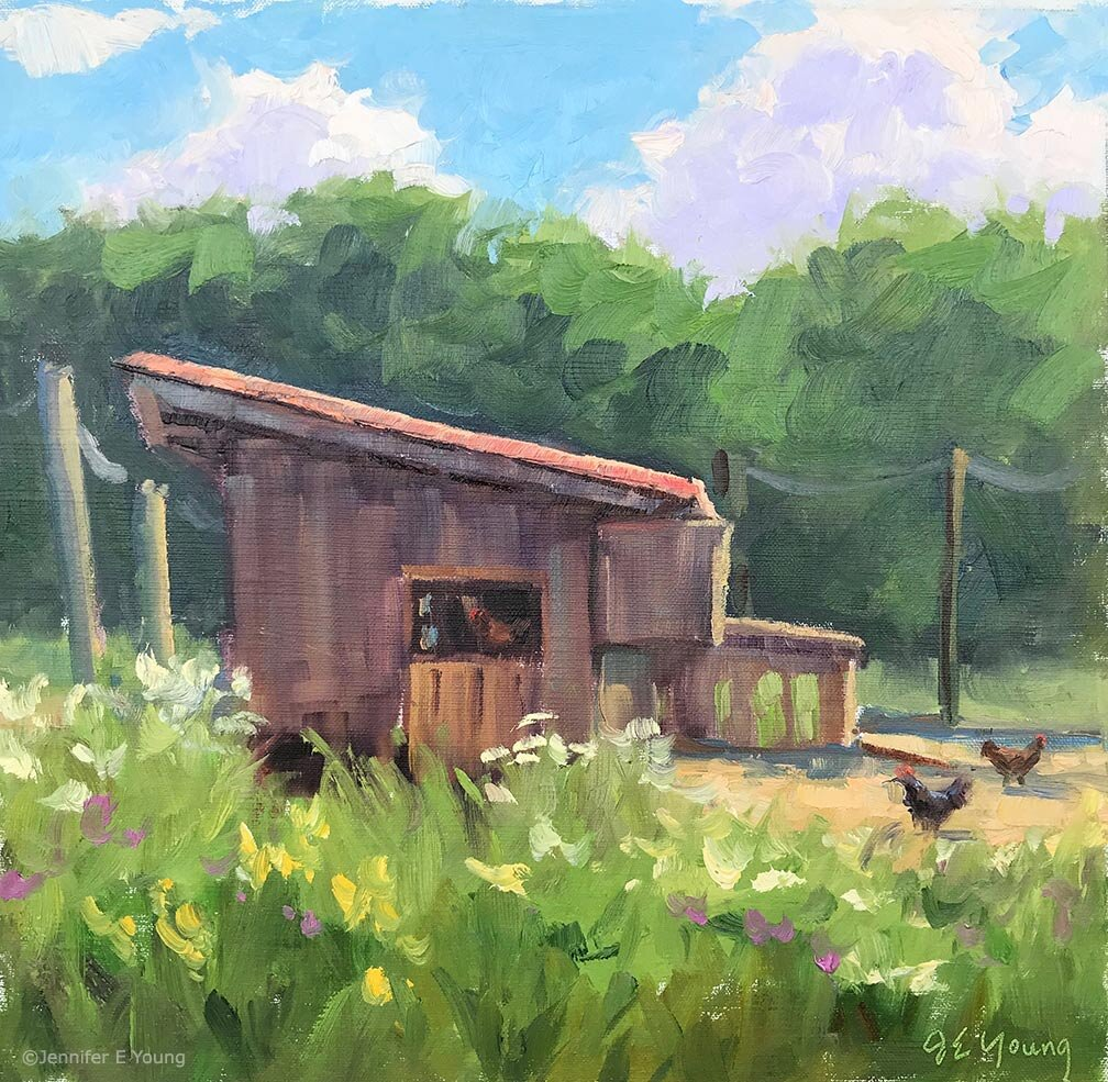 """Village Life"" ©Jennifer E Young. Oil on linen, 10x10"" (SOLD). Painted during Plein Air Floyd, 2019."