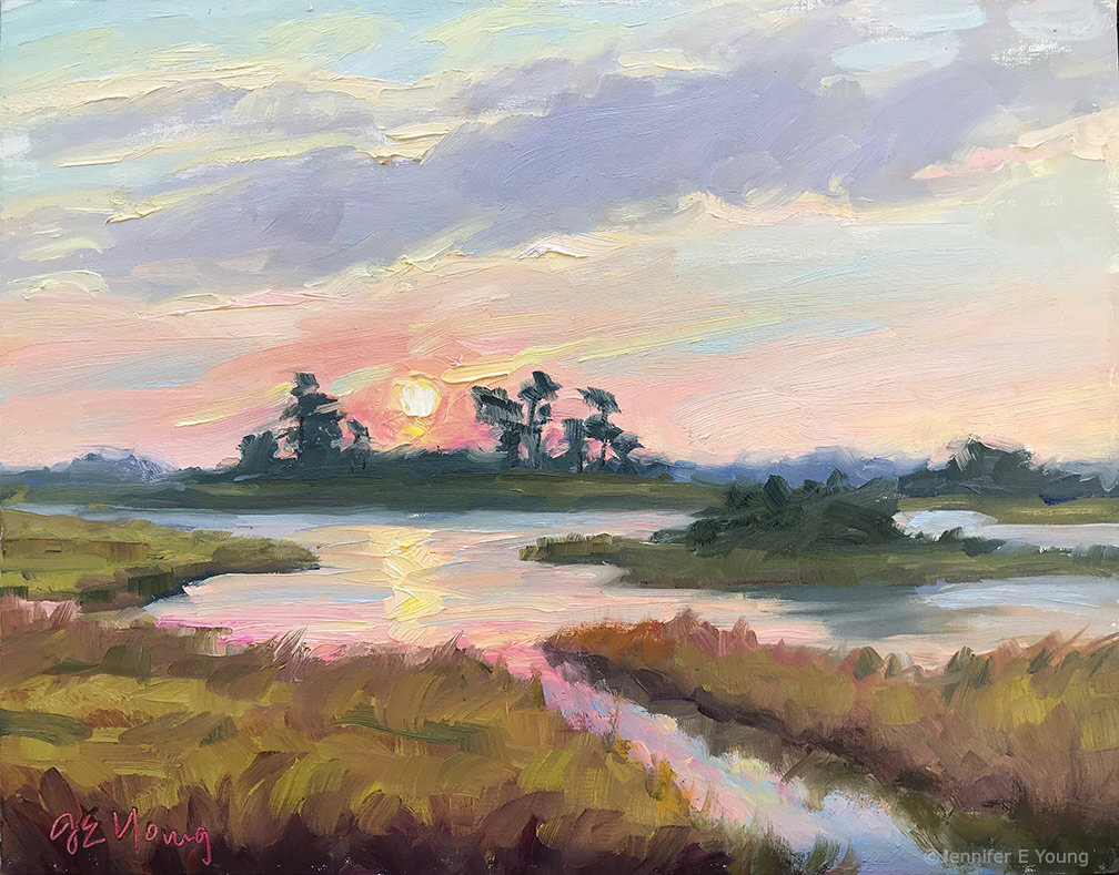 """Morning Glory"" ©Jennifer E Young. Oil on linen, 11x14"". Painted during Chincoteague Plein Air, 2019."