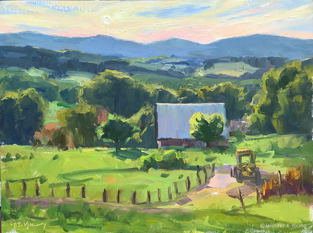 """Evening Falls on Storker's Knob,"" ©Jennifer E Young. Oil on linen, 12x16"". Painted during Plein Air Floyd 2019."