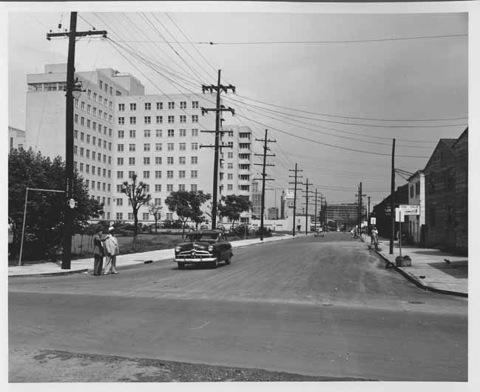 "Perdido Street from Lasalle toward Loyola Avenue ""after"" widening March, 1958"