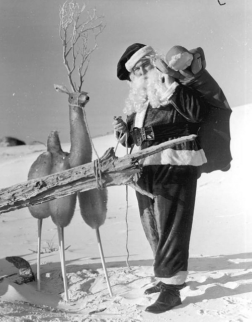 Santa Claus with reindeer at the beach: Panama City Beach, Florida.Date: December 1956 Photographer: Johnson, Francis P. Physical descrip: 1 photoprint - b&w - 5 x 4 in. Series Title: Department of Commerce collection Repository: State Library and Archives of Florida, 500 S. Bronough St., Tallahassee, FL 32399-0250 USA. Contact: 850.245.6700.Archives@dos.state.fl.us