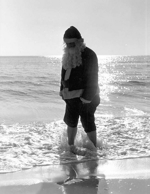 Santa in the ocean