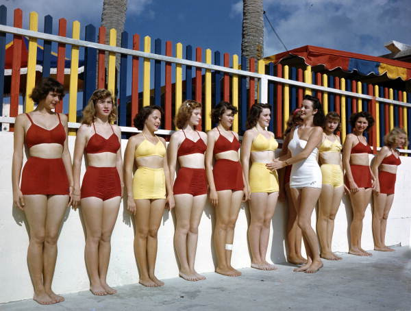 Sarasota Sun-Debs posture training class at Lido Beach, Florida Date: 1953 Physical descrip: 1 transparency - col. - 4 x 5 in. Series Title: Joseph Janney Steinmetz Collection Repository: State Library and Archives of Florida, 500 S. Bronough St., Tallahassee, FL 32399-0250 USA. Contact: 850.245.6700.