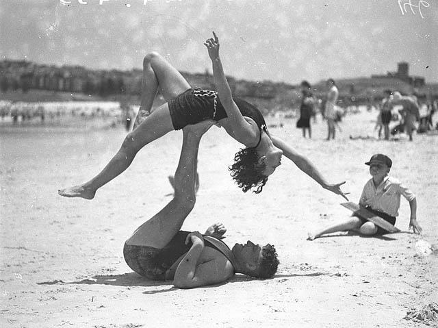Mr. J Prentice and Miss J Howat doing acrobatics