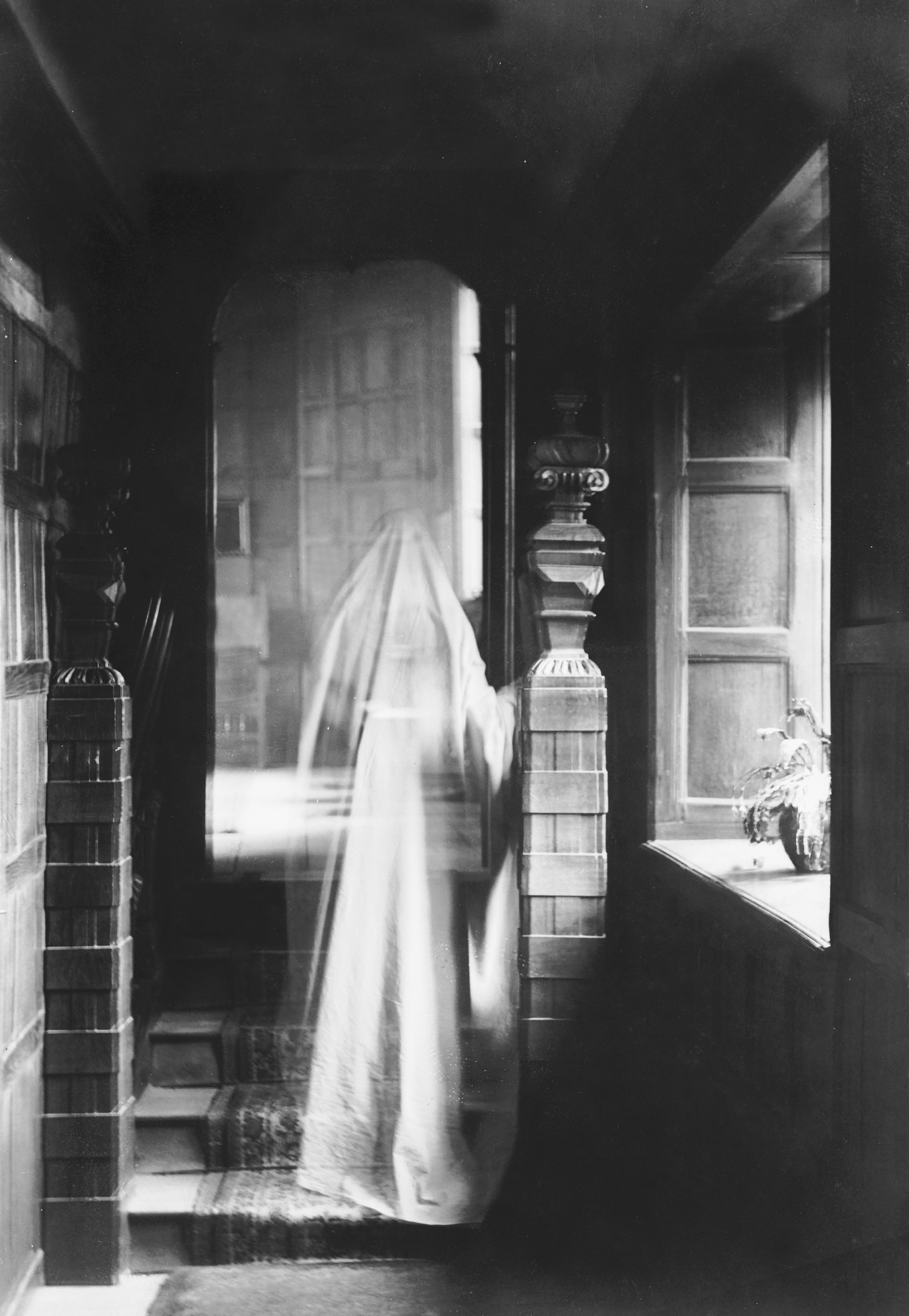 "From the National Archives UK. ""Ghostly sighting?"" Description: Image of ghost, produced by double exposure. Date: 1899. National Archives Reference: COPY 1/439."