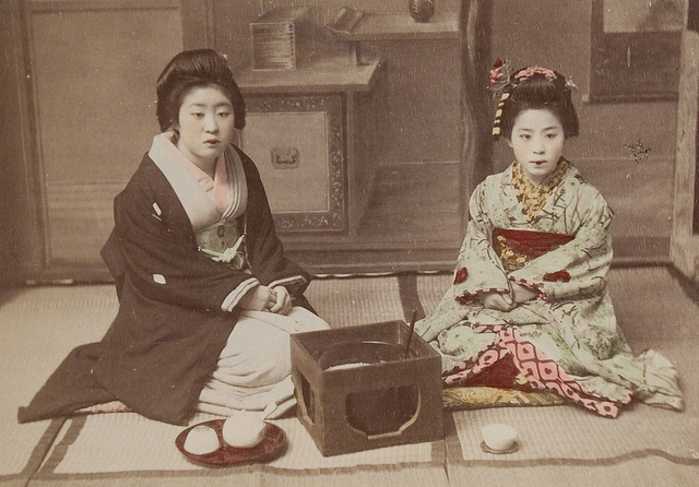 Title: An Informal, Afternoon Tea. From the Museum of Photographic Arts. Artist: Kusakabe Kimbei (Japanese, 1841 - 1934) Creation Date: c. 1890s. Process: albumen print. Credit Line: Gift of Rudi Bianchi. Accession Number: 1999.039.020