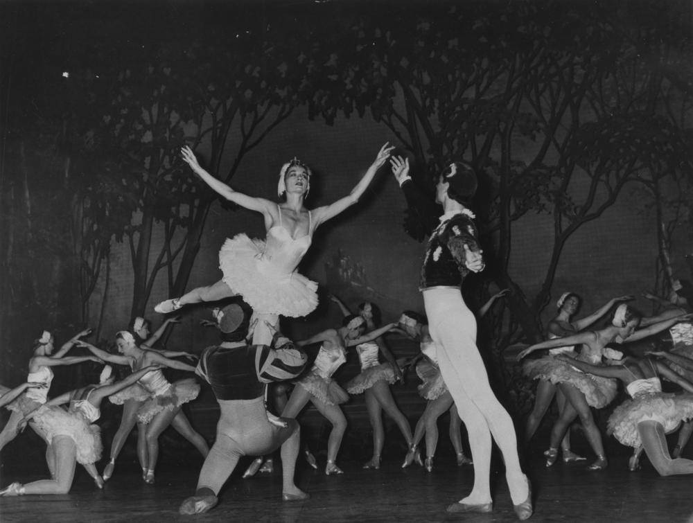 Performance of Swan Lake at Her Majesty's Theatre, Brisbane, 1953. Description: His Majesty's was the largest theatre in Brisbane and it hosted most of the productions by professional touring companies throughout its 95 year history. The Majesty theatre was demolished it on 23 October 1983 and the Hilton Hotel and Wintergarden Shopping Centre were built on the site