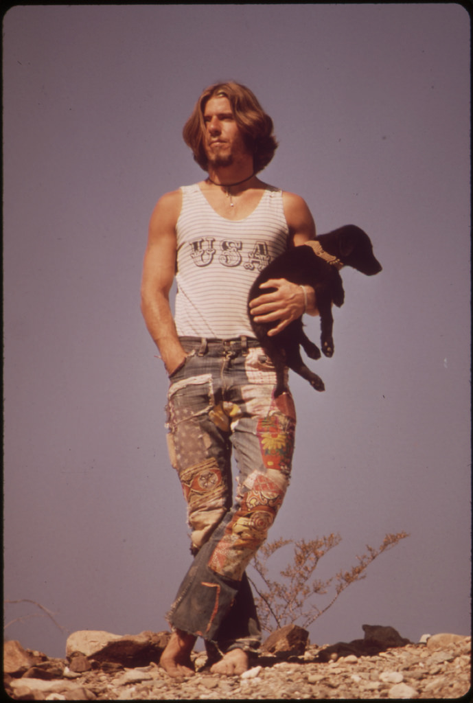 "Hitchhiker with His Dog, ""Tripper"", on U.S. 66. U.S. 66 Crosses The Colorado River At Topock: 05/1972, Project Documerica."