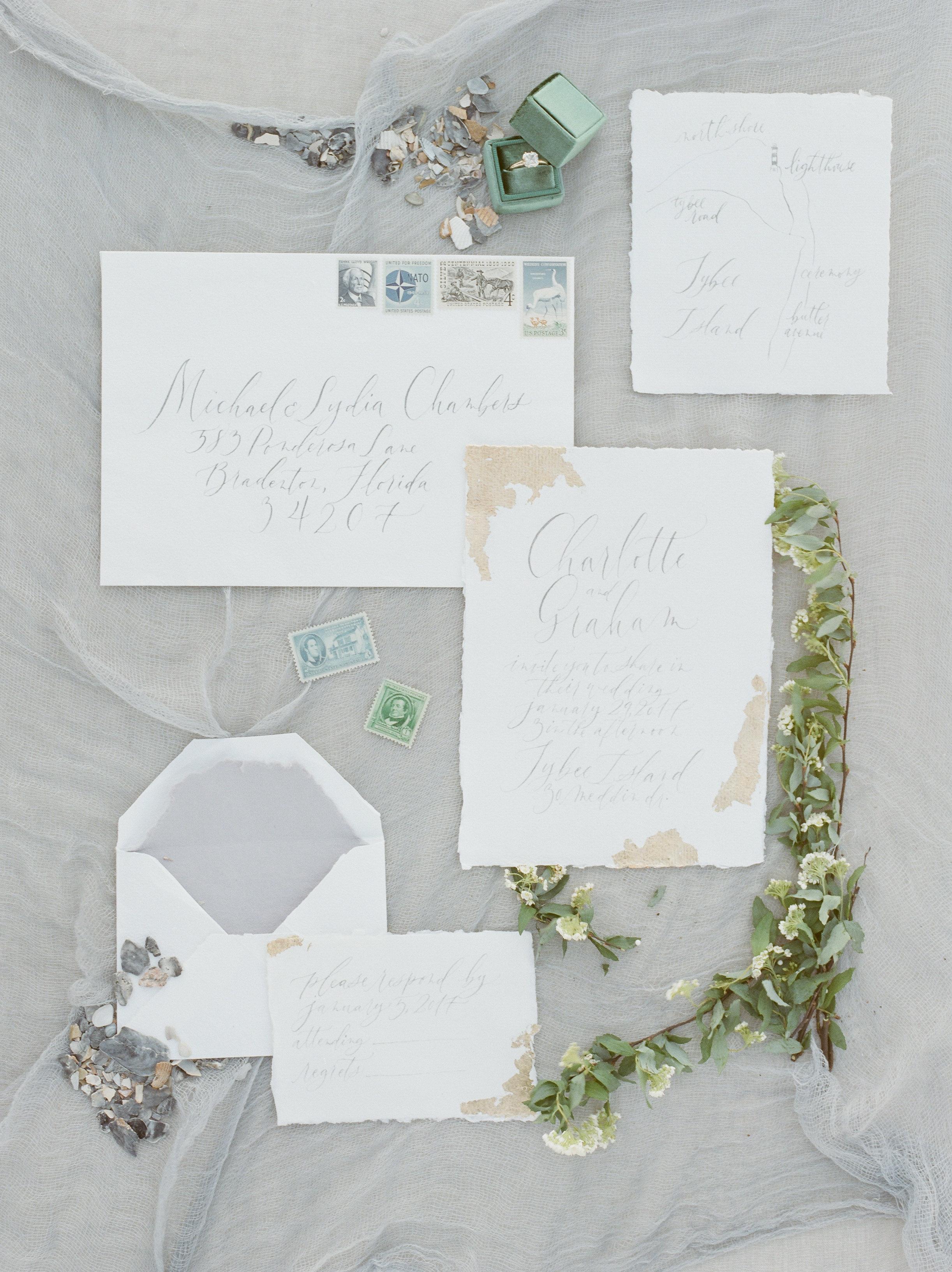 Savannah Wedding Inspiration | Beach Wedding Inspiration | Beach Wedding Stationery | Green Ring Box | Organic Beach Wedding | Lyndi and Jason Photography | Joy Wed