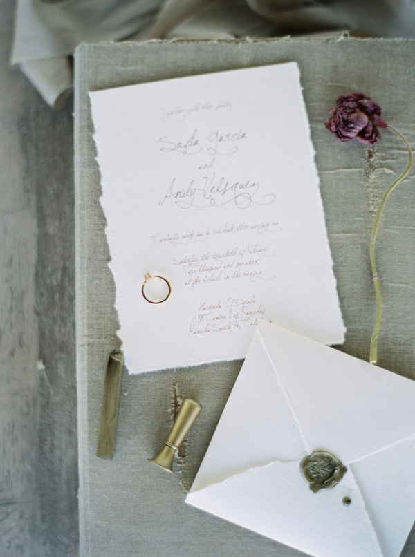Spanish Wedding Inspiration | Ranch Guajome Adobe Wedding | Nicole Colwell Photography | Joy Wed | Organic Wedding | Wedding Calligraphy | Grey Wedding Stationery