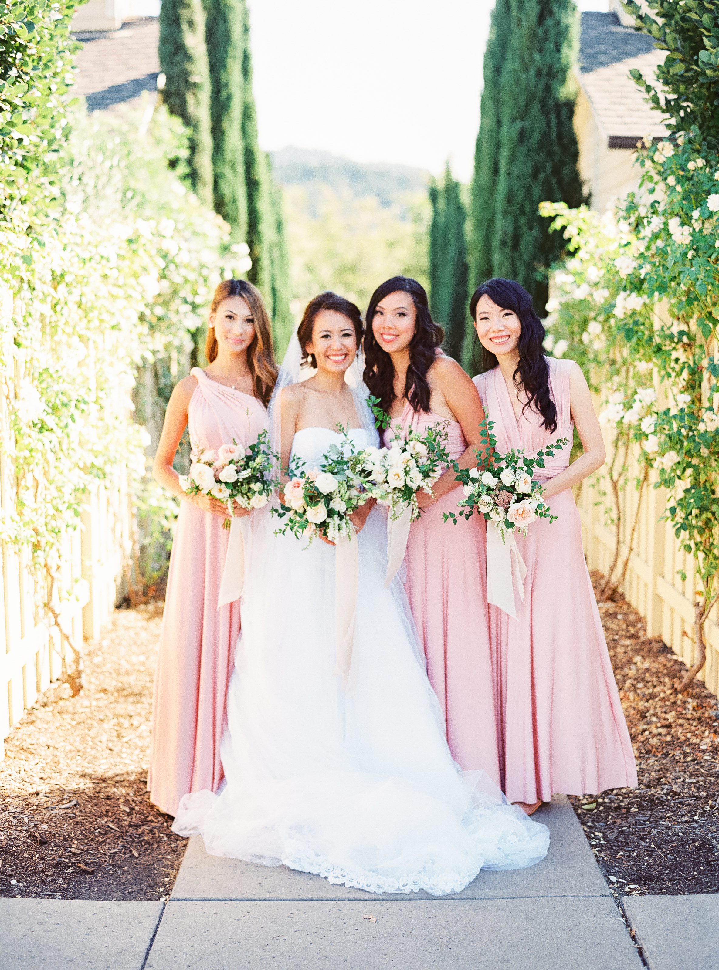 Napa Valley Wedding | Michele Beckwith | Chinese Wedding | Vineyard Wedding | Fine Art Wedding Blog | Joy Wed | Blush Bridesmaids Dress | Organic Wedding Bouquet