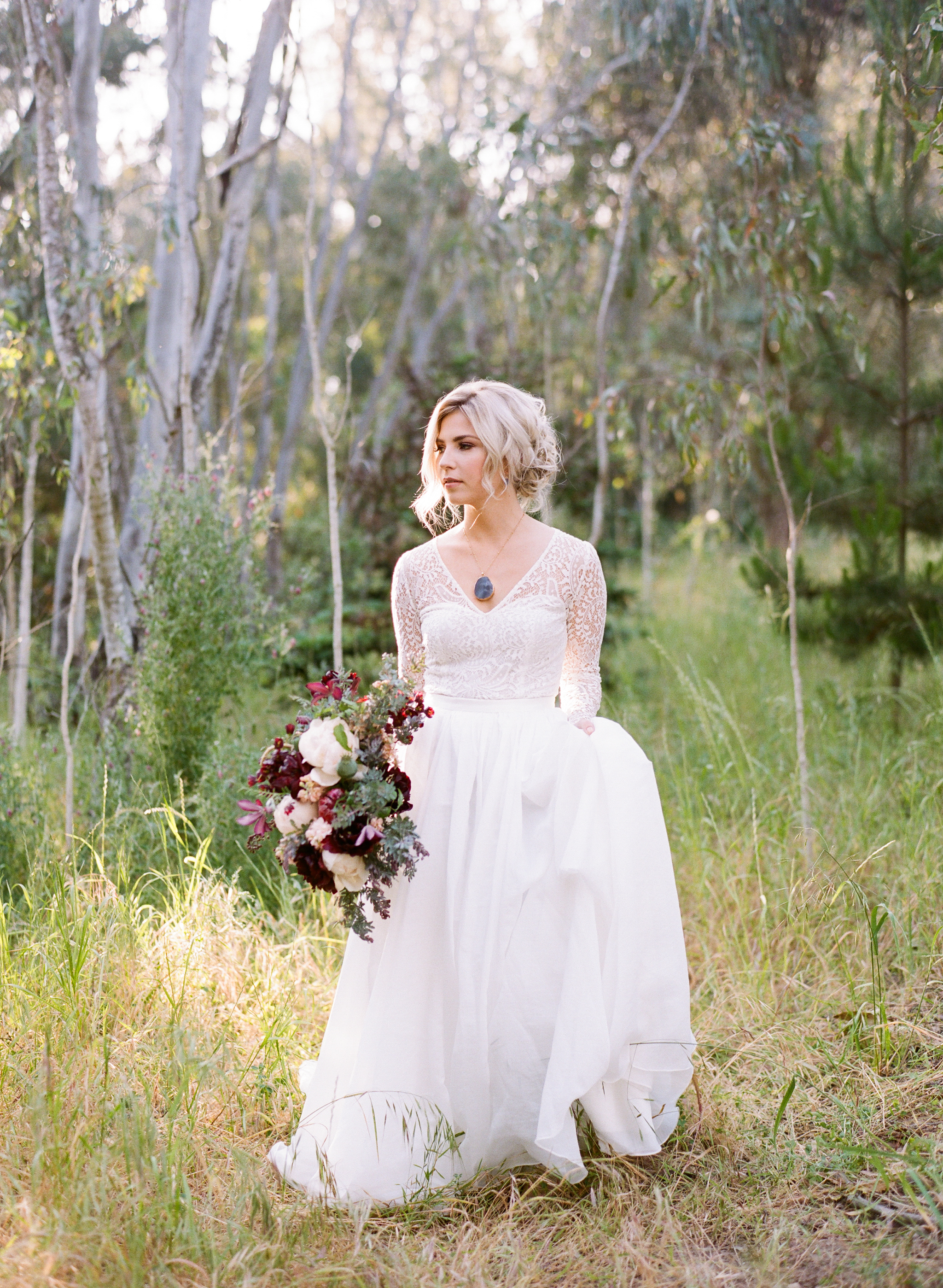 Ellwood Bluffs Bridal Session | California Photographer | Wedding Inspiration | Taken by Sarah | Burgundy Bridal Bouquet | Ethereal Bride | Joy Wed | Fine Art Wedding