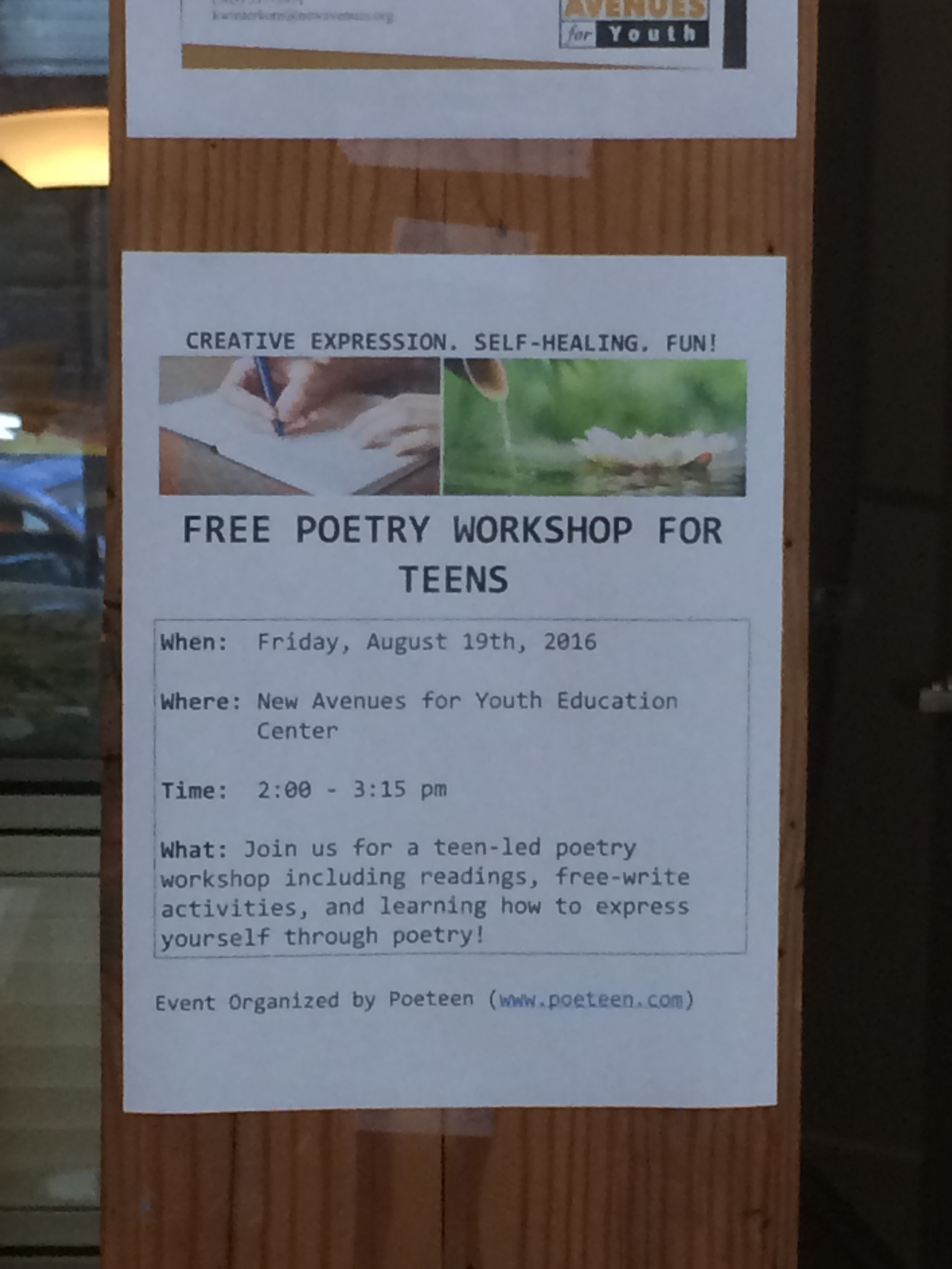 Poeteen's flyers around the New Avenues for Youth facility in downtown Portland
