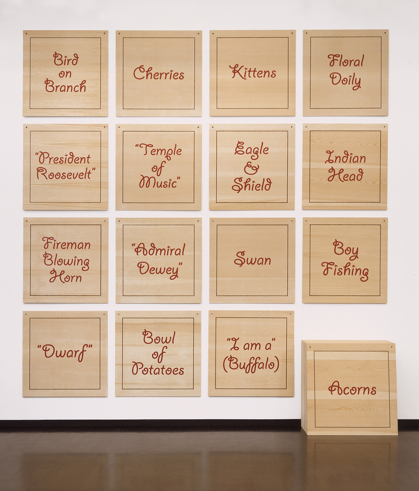 """I am a"" (Buffalo)  2003 enamel paint on burned plywood, 49 panels 42 x 42 x .5 inches each"