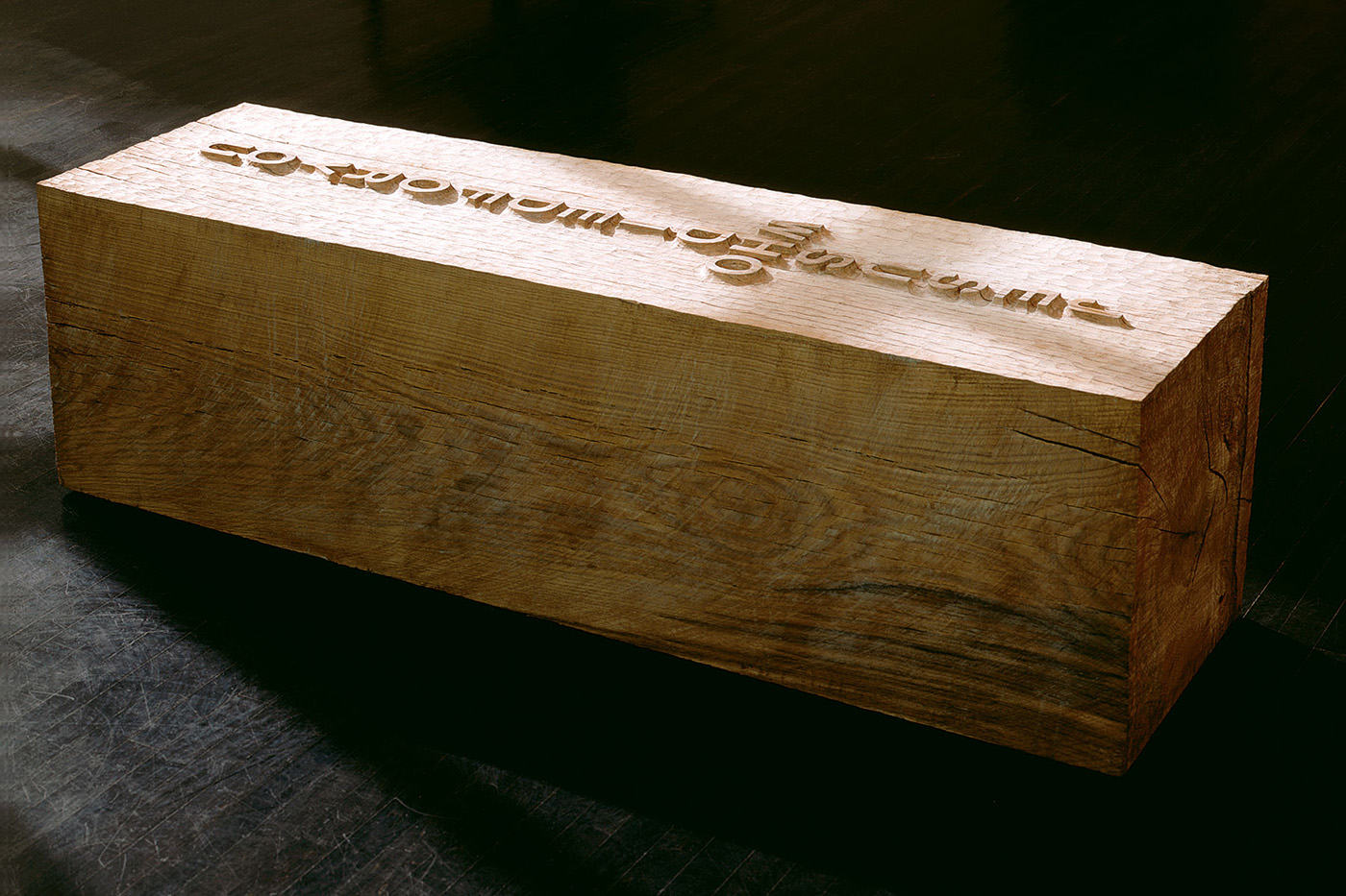 WHO  2003 carved white oak 22 x 72 x 22 inches