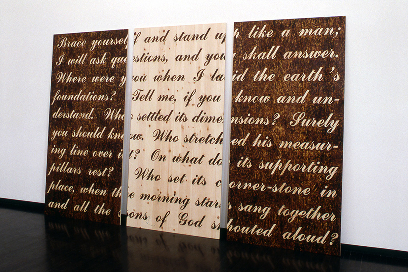 Brace yourself  2003 burned plywood, three panels 96 x 48 x .75 inches each