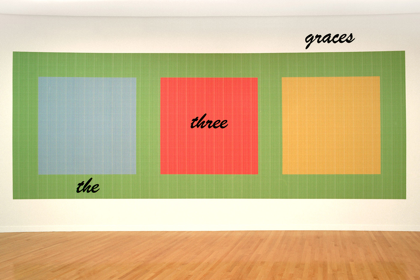 muse  2001 enamel paint on wallpaper 96 x 288 inches