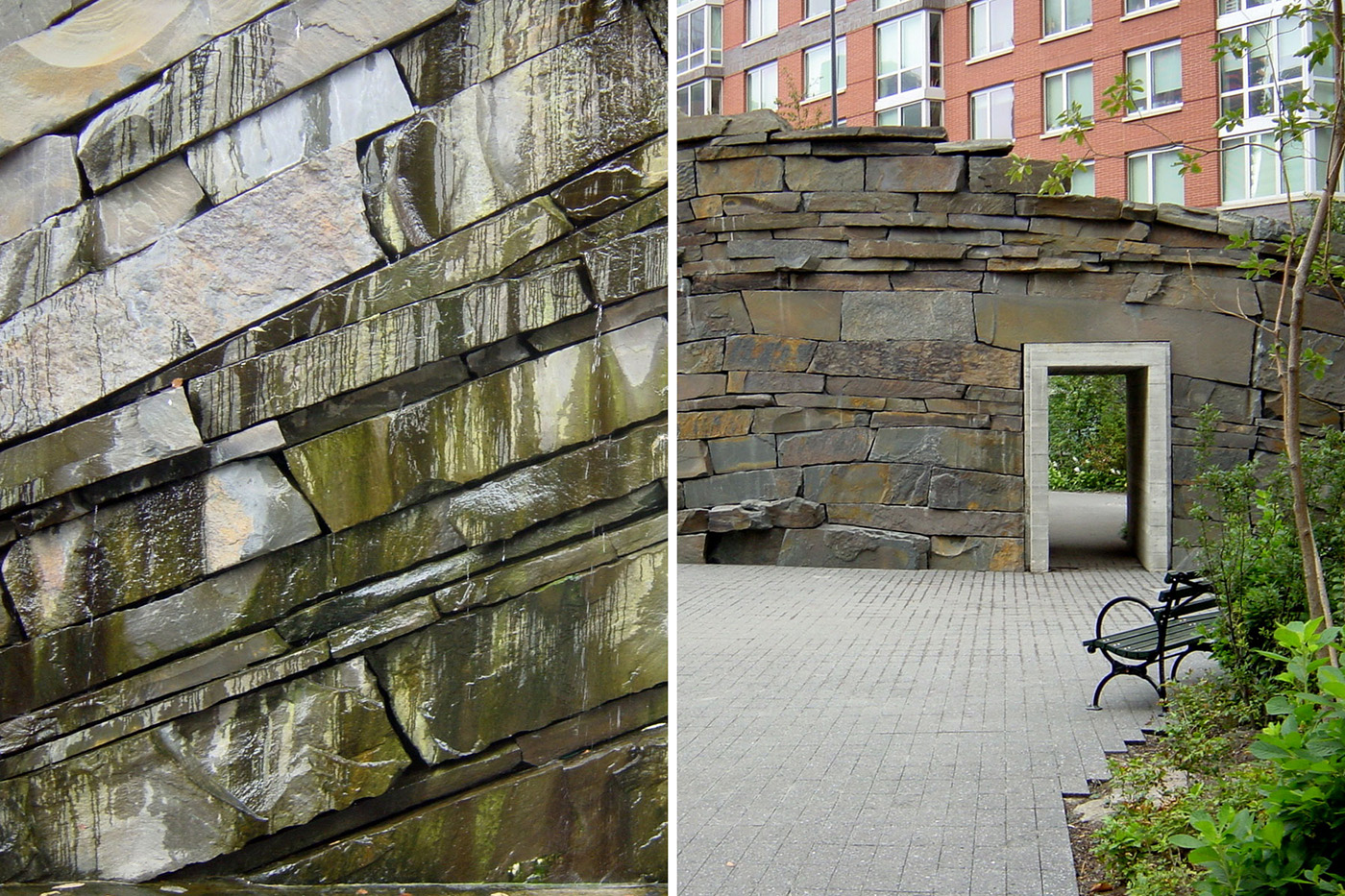 Stone wall  (left) and  tunnel entrance to south park  (right) by  MVVA