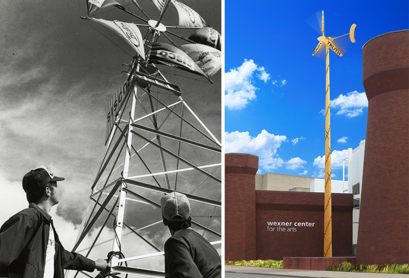 OSU students with windmill 1980  (left),  proposed turbine 2013  (right)