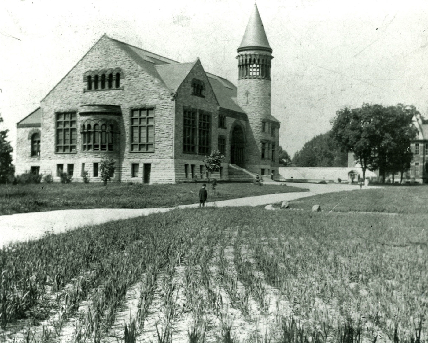 OSU Orton Hall   with crop planting , circa 1889