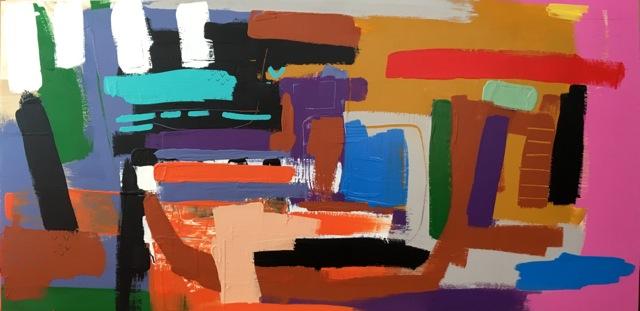 Abbie Wanamaker -  Untitled , latex on wood, 24 x 48 in.