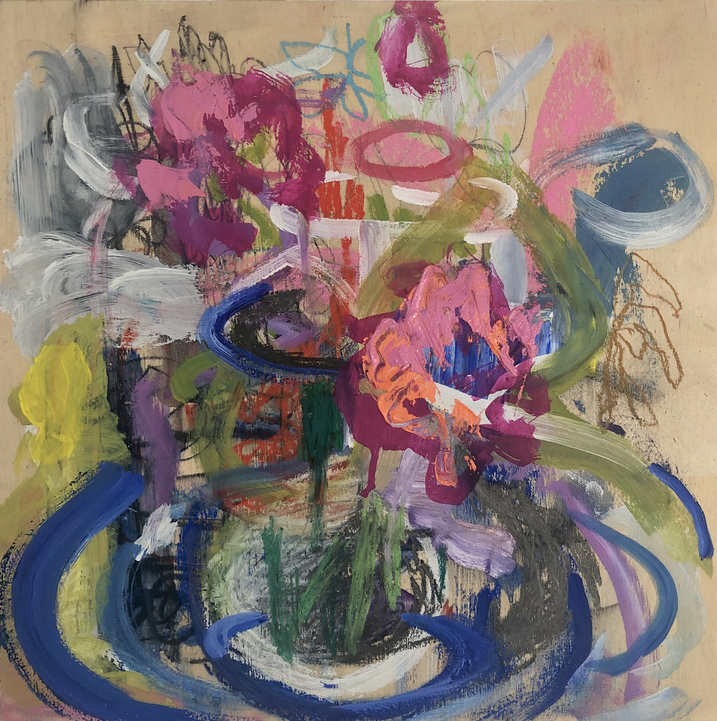 Flowers for Maureen in a Cobalt Blue Vase