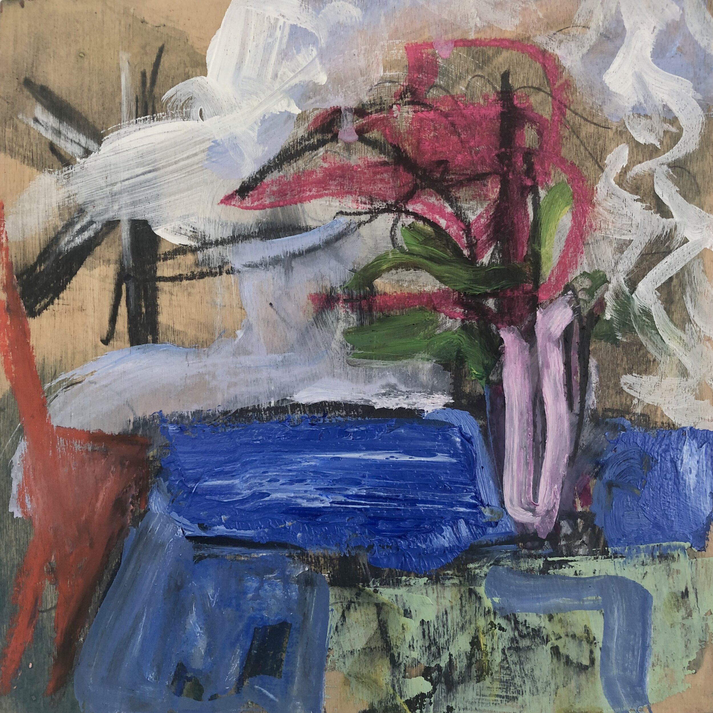FLOWERS ON A BLUE TABLE