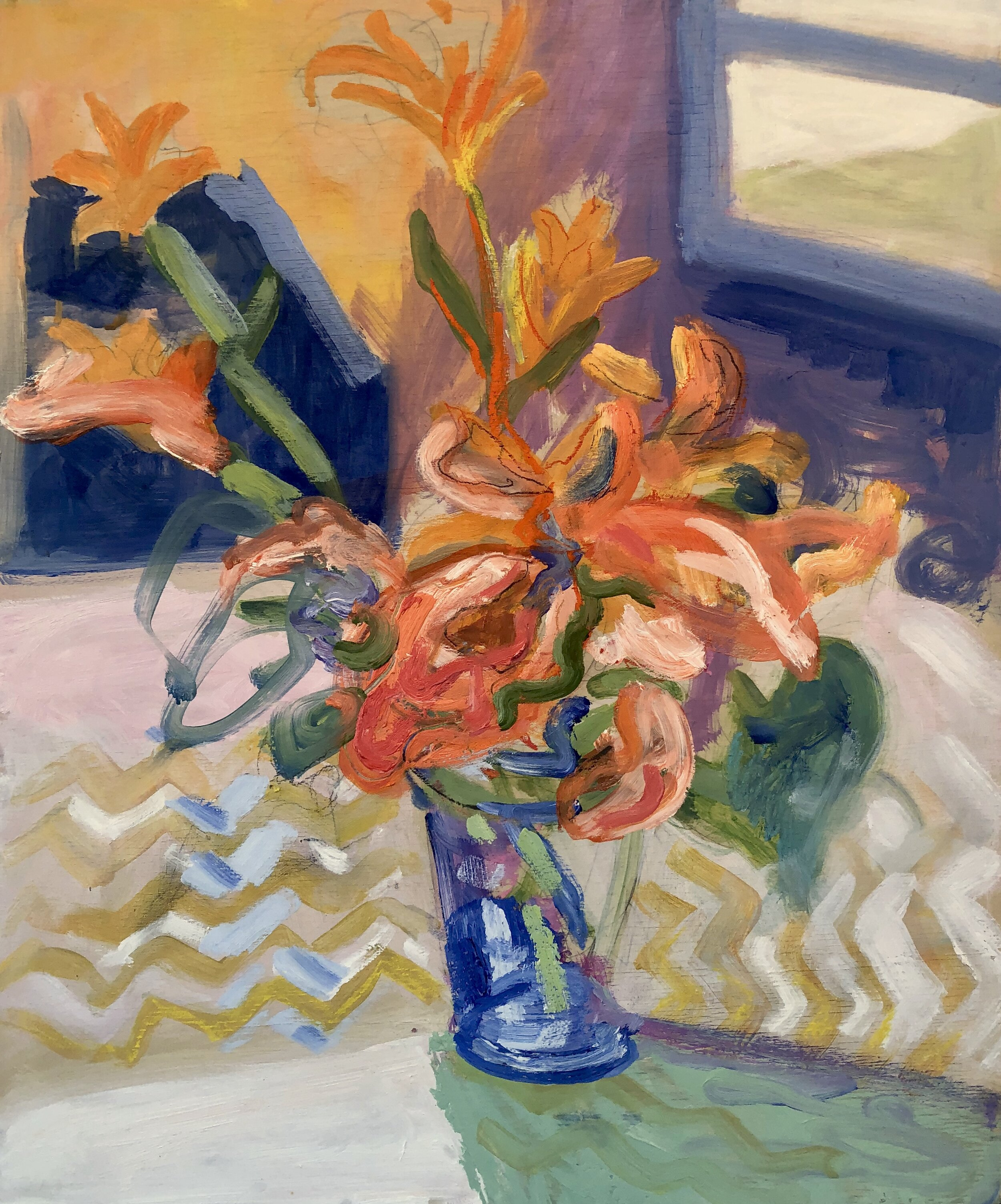 DAY LILIES ON A ZIG-ZAG TABLECLOTH