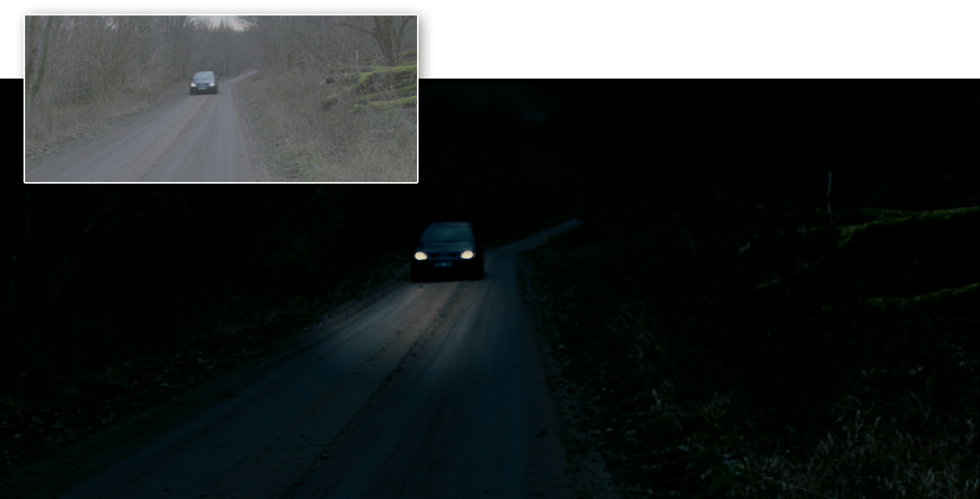 Before and after grading from The Wake Wood: The shot required luminance keys, and several shapes to darken the sky and landscape. The headlamp spill on the road is done with two auto tracking shapes and some key frames to create a more realistic bounce over the road surface. The whole effect was achieved in the grading suite.