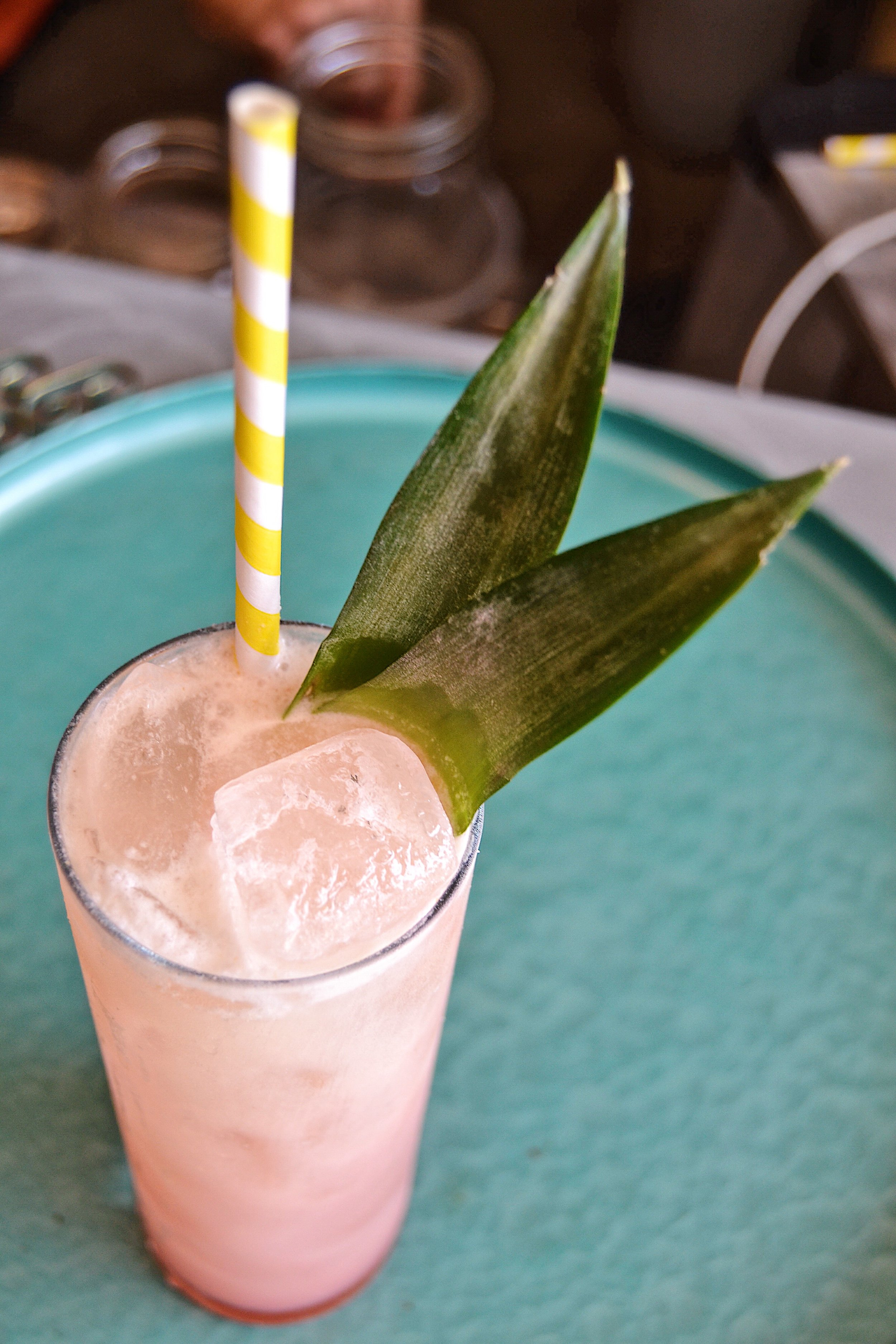 AMERICAN FLAMINGO Go birds. Aquavit, Funky Rm, Passionfruit Liqueur, Jackfruit-Coconut Syrup, Lime Juice. Topped with Dock Street Summer in Berlin.$12