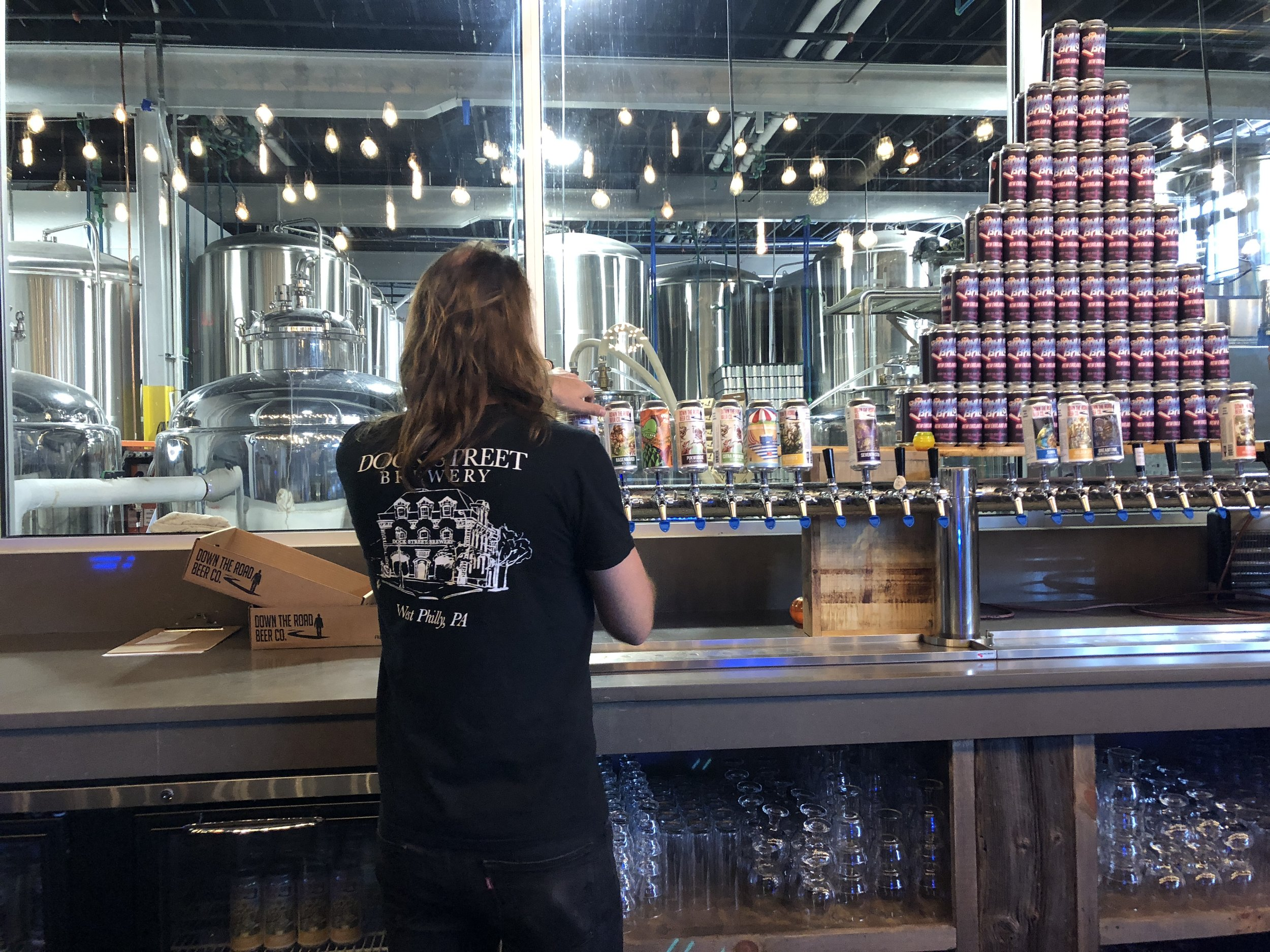 Mark Russell, our head brewer, made himself right at home at DTR pouring some brews on brewing breaks.