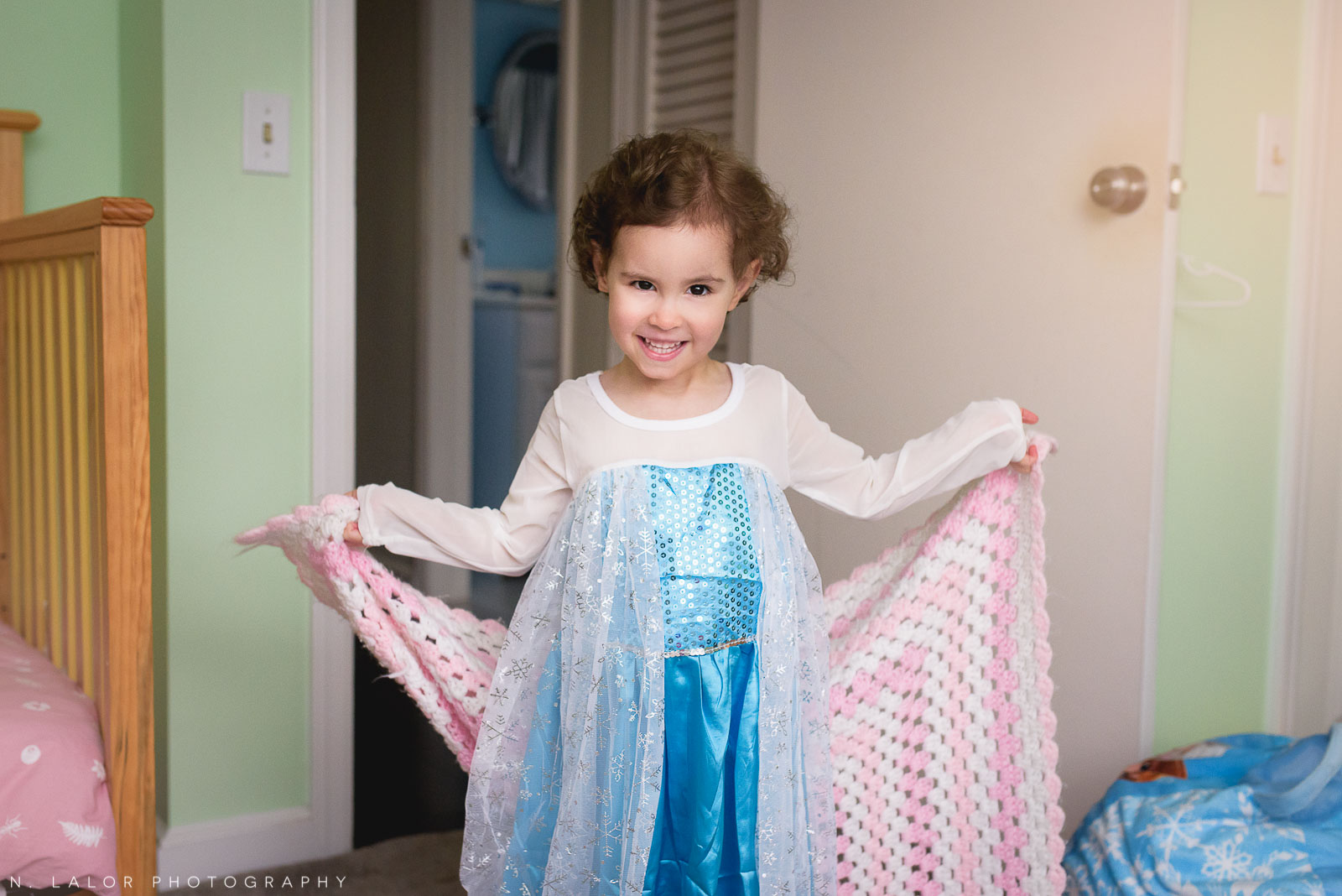 Dressing up as Elsa. A mini photo session in Fairfield County, Connecticut by N. Lalor Photography.