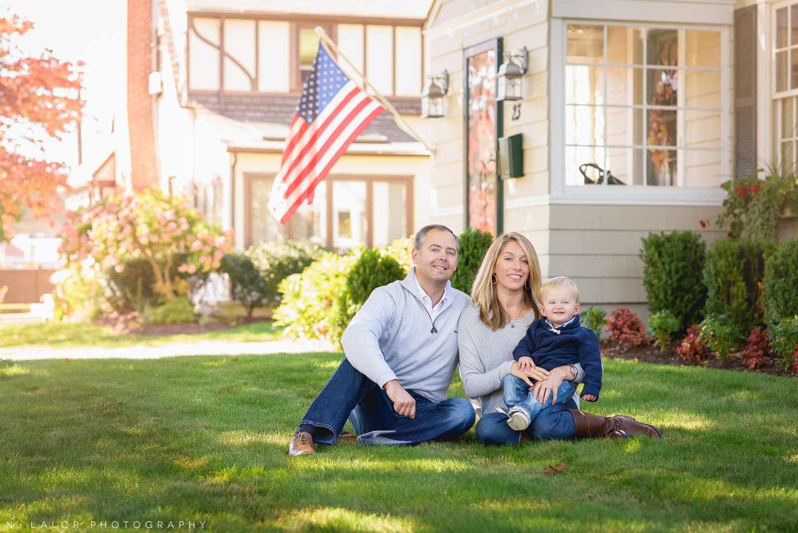 Fall family portrait in Fairfield Connecticut by N. Lalor Photography.