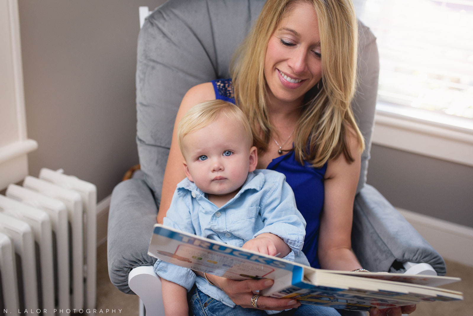 Reading with Mom. Lifestyle family photo session with N. Lalor Photography in Fairfield, CT.