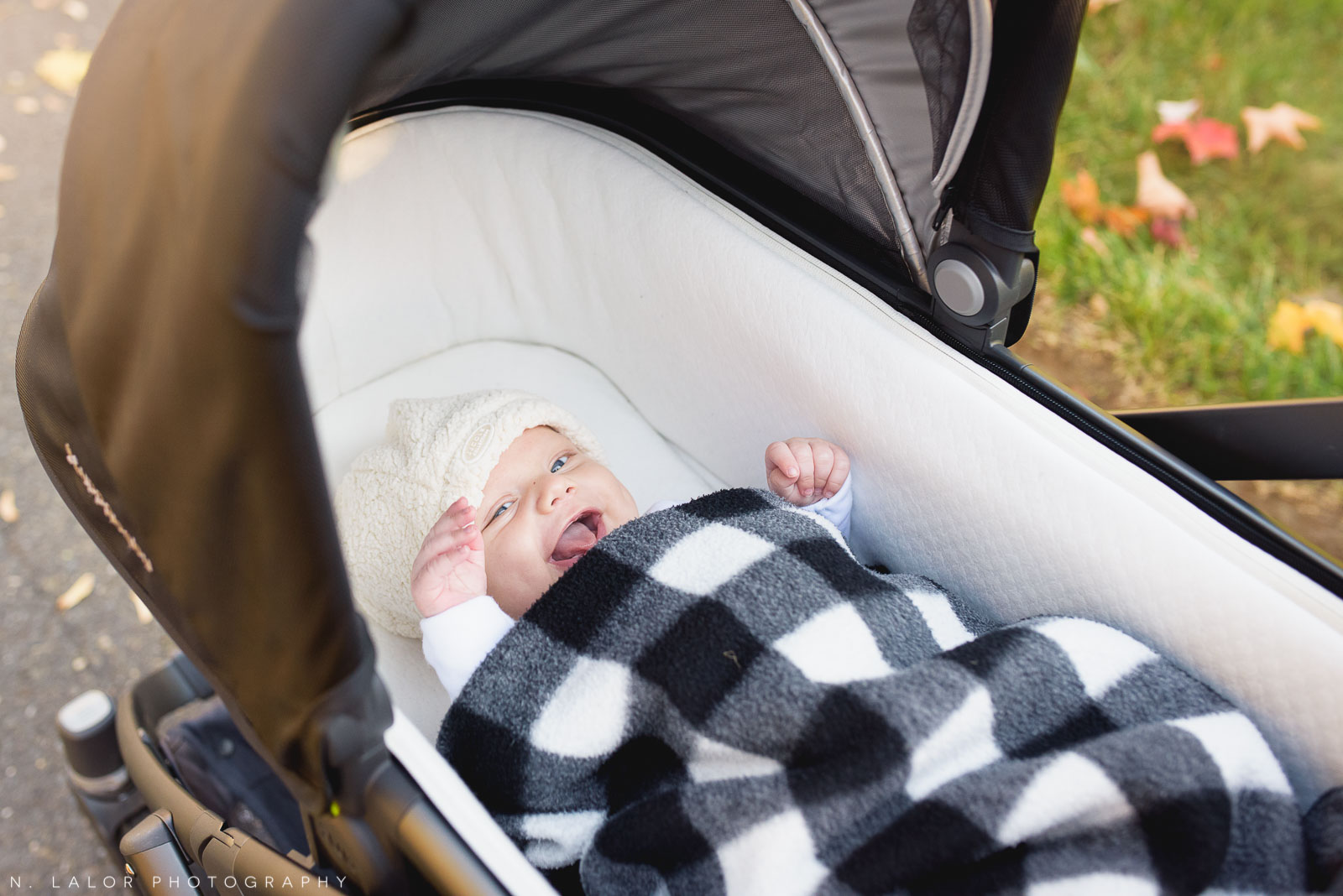 Happy baby boy in a stroller. Lots of smiles! Lifestyle portrait by N. Lalor Photography. Fairfield County, CT.