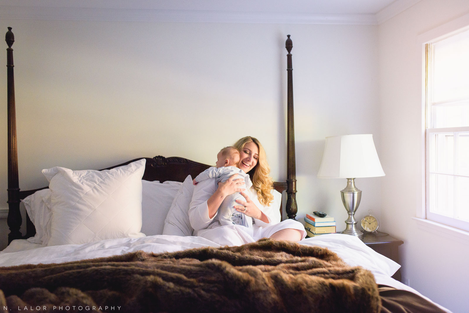 Waking up with baby. Lifestyle Mom and Baby portrait by N. Lalor Photography.