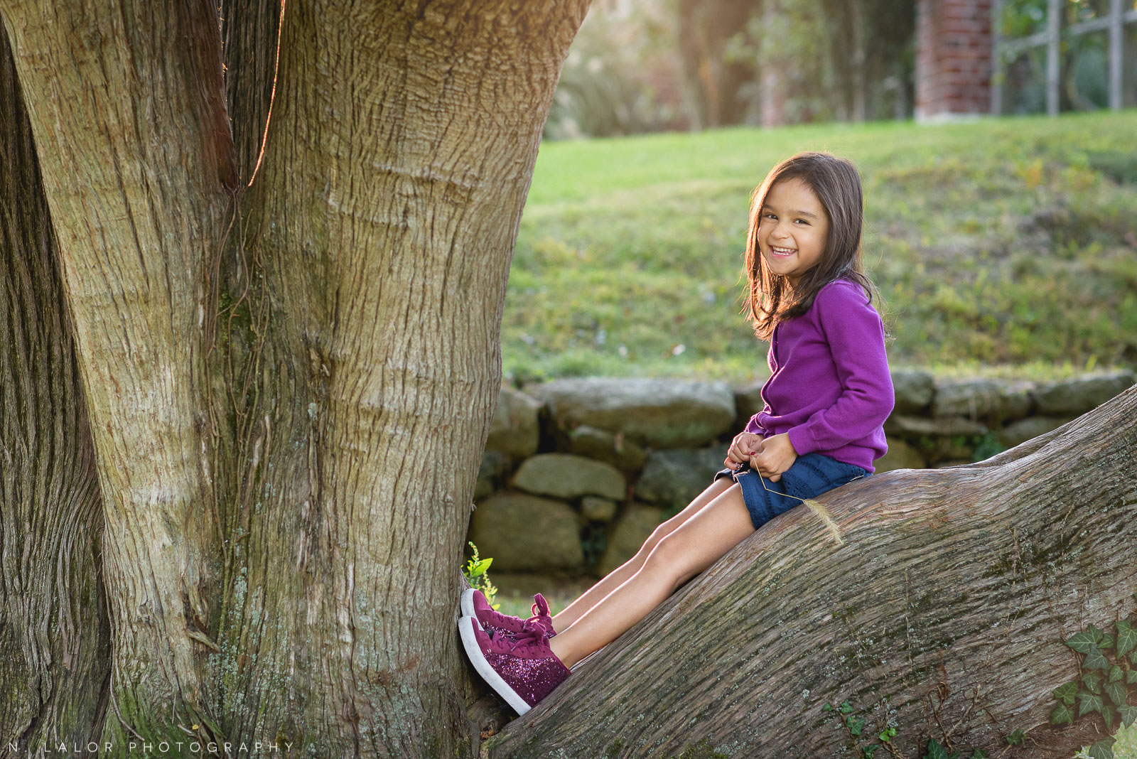 Lifestyle portrait of 5-year old girl sitting on a tree trunk. Photo by N. Lalor Photography. Waveny Park, New Canaan, Connecticut.