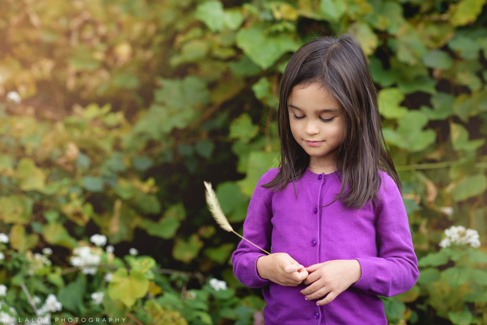 Lifestyle art portrait of girl at Waveny Park New Canaan. Photo by N. Lalor Photography.