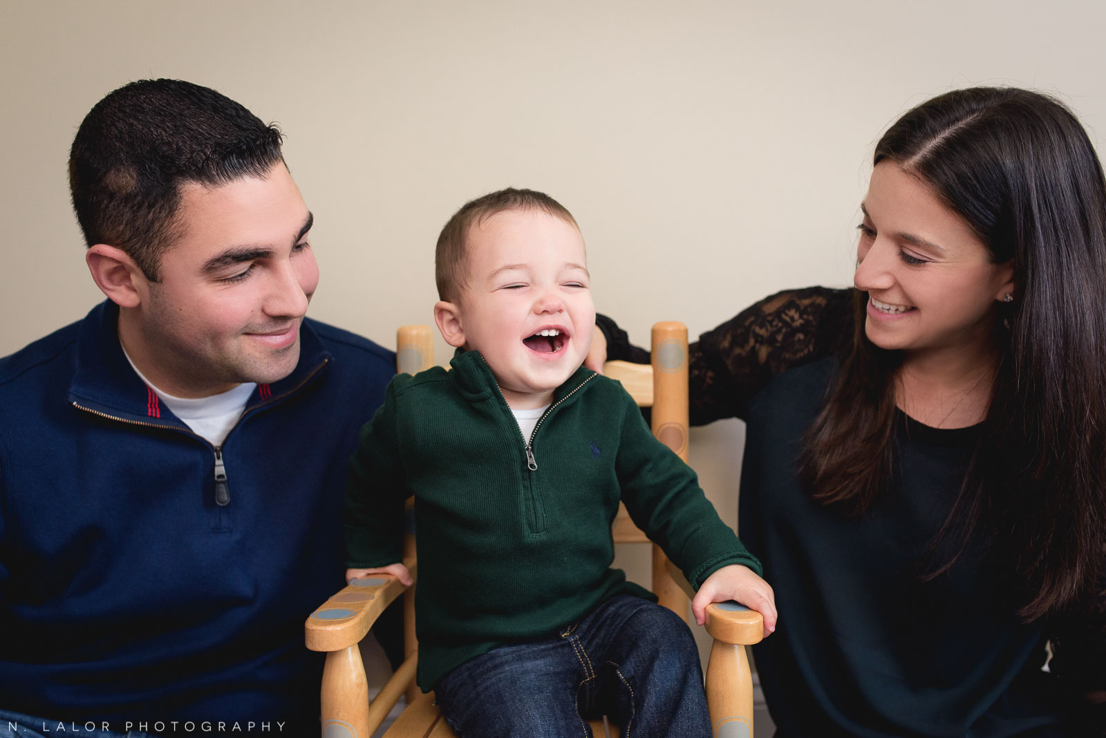 Laughing as a family. Fun family session with N. Lalor Photography.