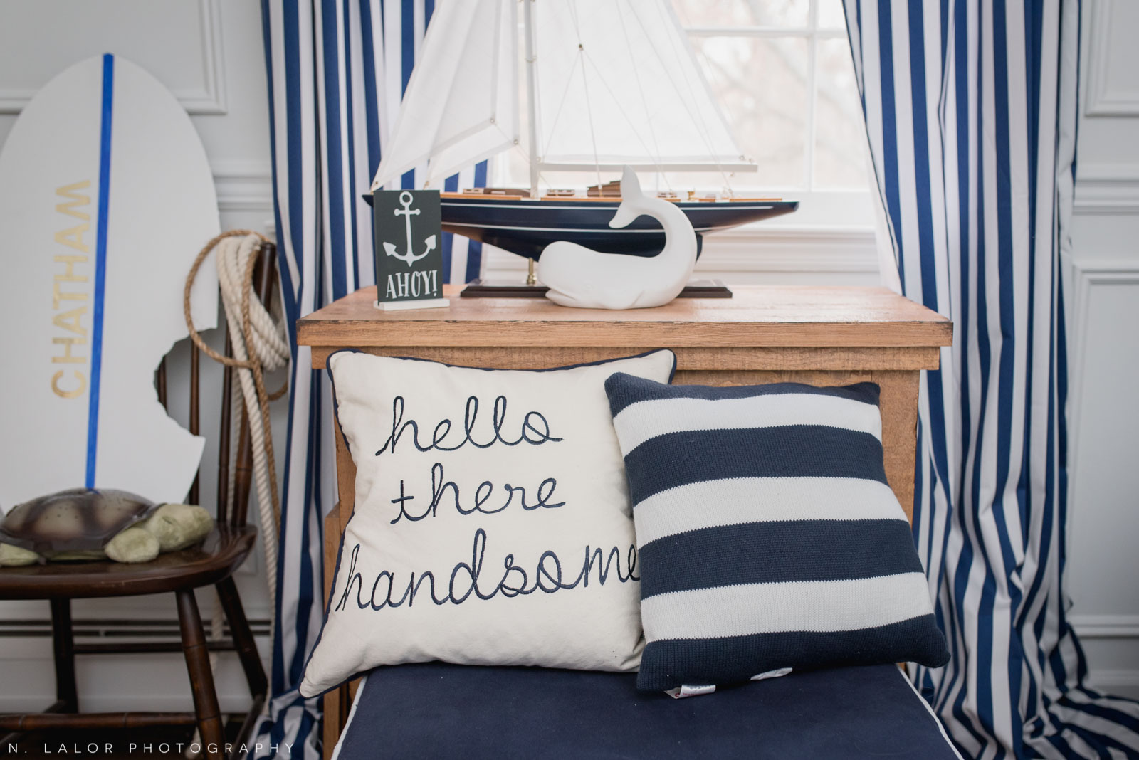 Baby boy's nautical room details. Photo by N. Lalor Photography. Fairfield County, Connecticut.