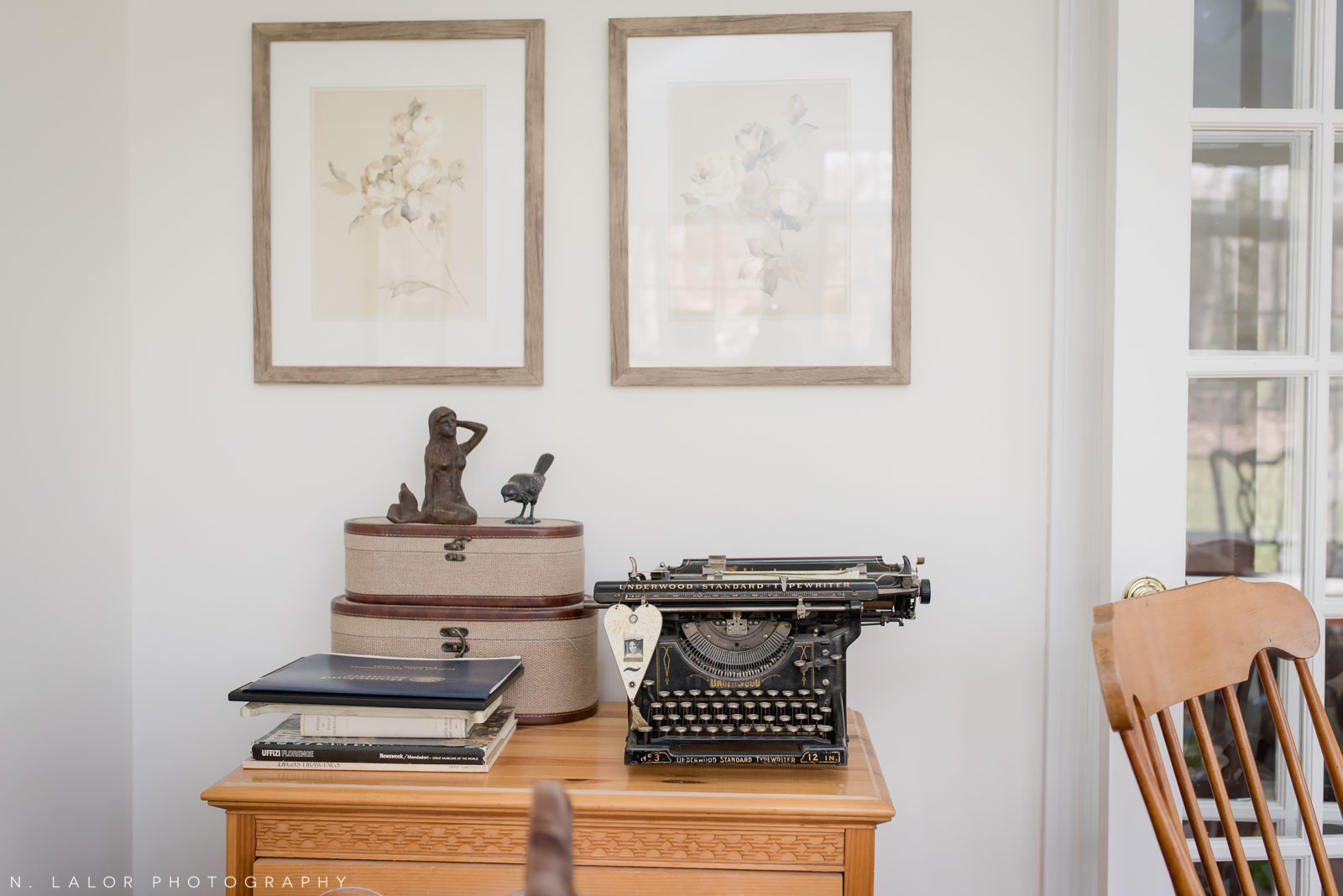 Typewriter room detail from an editorial-style family session with N. Lalor Photography.