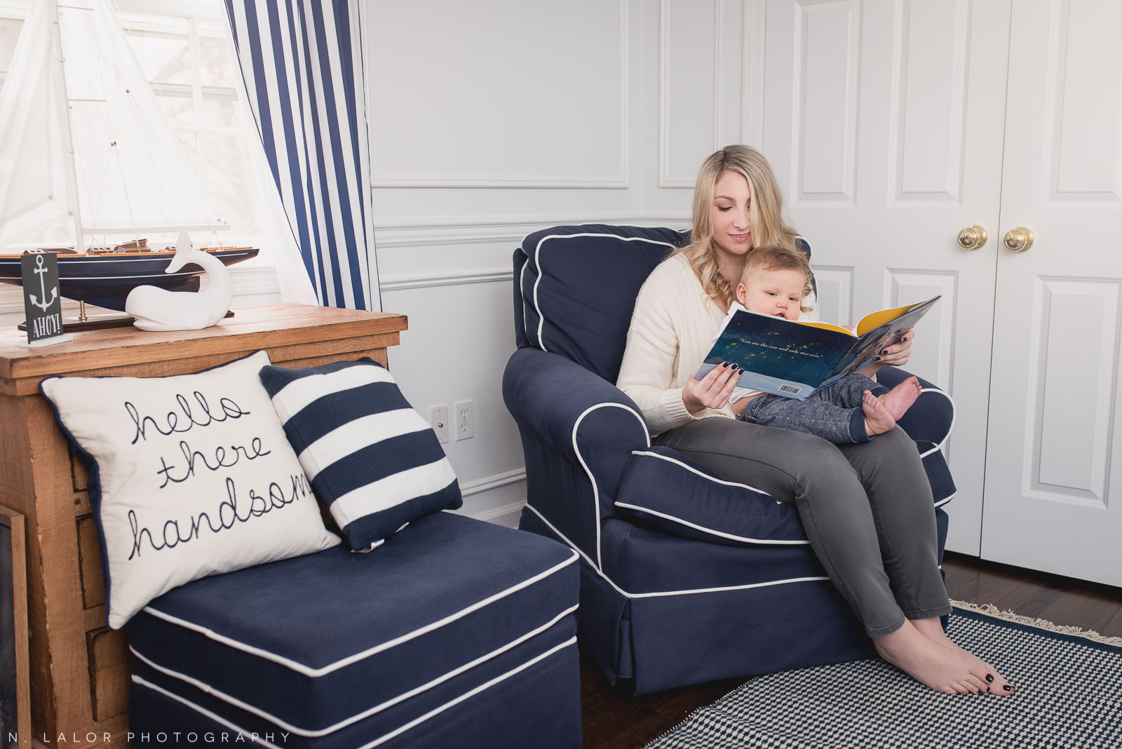 Story time with Mom. Baby boy's natural themed nursery room. Editorial photo by N. Lalor Photography.