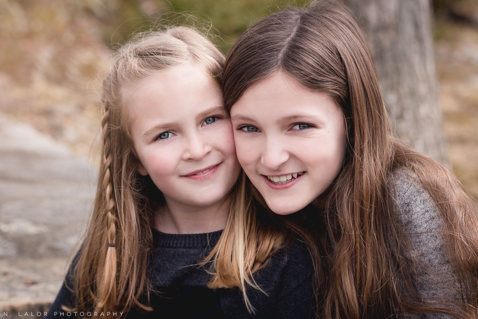 The perfect sister portrait. Editorial-style family session by N. Lalor Photography in Darien, Connecticut.