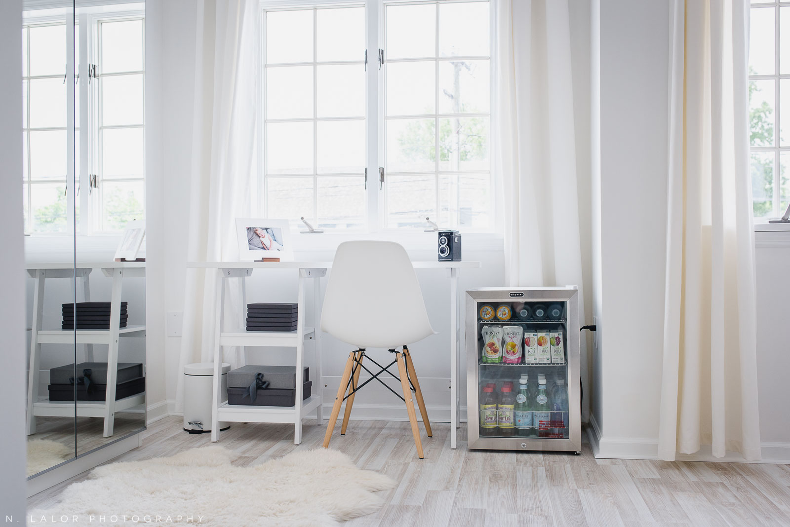Working area with mini beverage center.