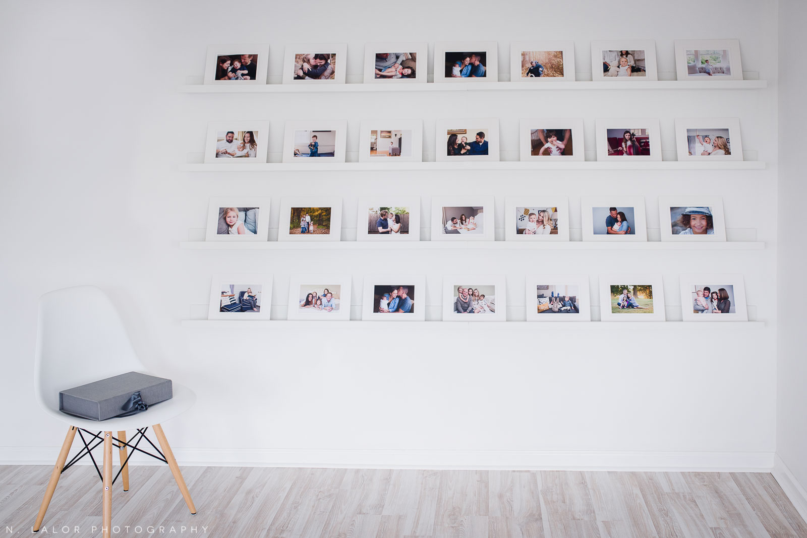 """The reveal wall with 5x7"""" matted prints."""