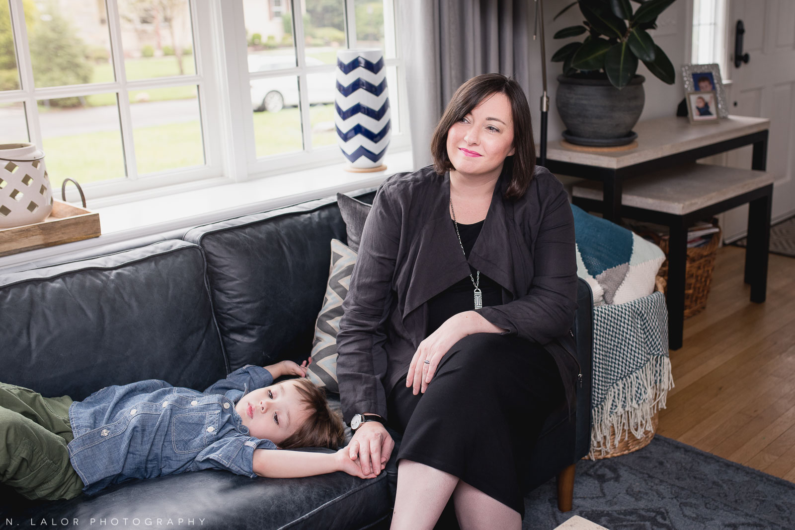 Mom with her son. Lifestyle family session by N. Lalor Photography.