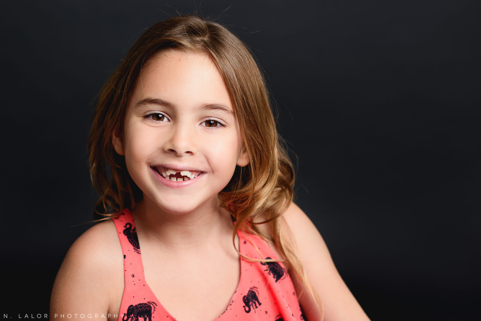 The beauty shot. Editorial studio portrait of 6-year old girl by N. Lalor Photography in Greenwich, Connecticut.