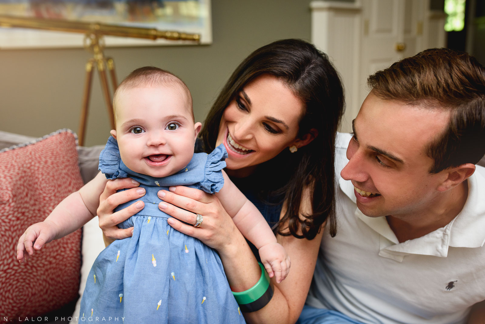 Casual family portrait. In-home family session with N. Lalor Photography in New Canaan, CT.