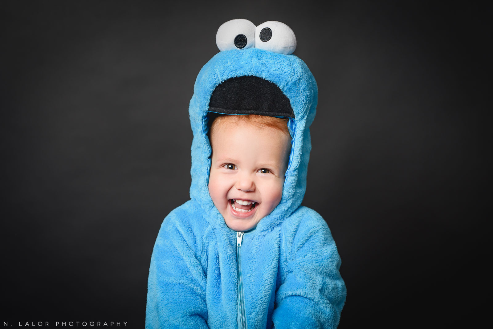 Cookie monster costume! Kids Halloween Portrait by N. Lalor Photography in Greenwich, Connecticut.